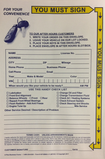 After Hours Service Envelope Yellow Highlight